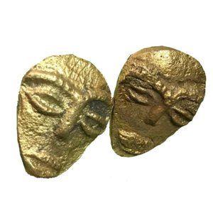 Vintage Handmade Gold Metal Mask Clip On Earrings